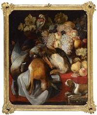 jagdstillleben mit früchtekorb, papagei und erlegtem hasen by frans ykens