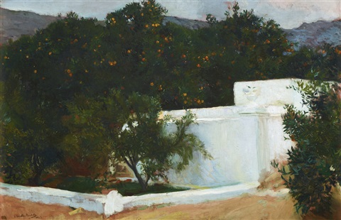 naranjos el camino del mar valencia orange trees on the road to the sea valencia by joaquin sorolla y bastida