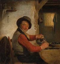 homme dégustant des moules et du vin by françois verheyden