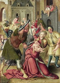 the massacre of the innocents; and the holy family with saint john (2 works) by master of the antwerp adoration