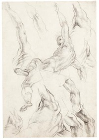 a seated male nude, and of his raised left arm (recto-verso) by giovanni alberti
