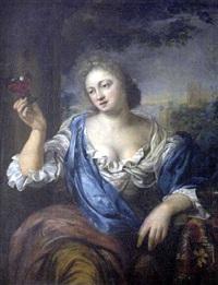 portrait de femme tenant un verre de vin by ary de vois