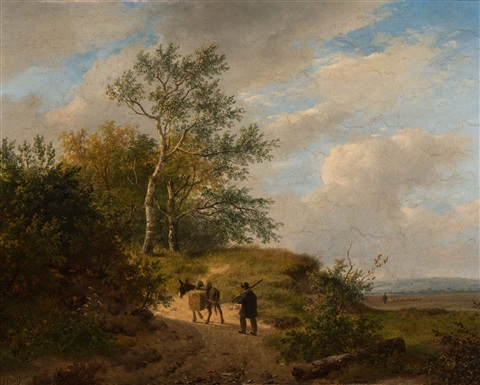 farmer and donkey on a heathland path, a shepherd with flock in the background by andreas schelfhout