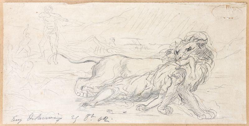étude pour une chasse au lion study by eugène delacroix