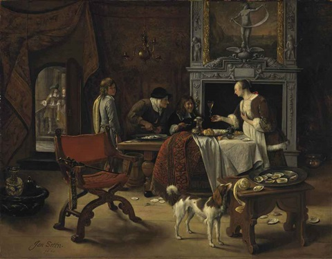 easy come easy go the artist eating oysters in an interior by jan steen