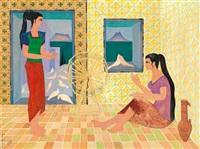 jeunes femmes au rouet by jellal ben abdallah