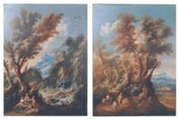 paysage italien animé de personnages près d'une petite cascade et paysage italien animé de voyageurs se reposant près d'une clairière, un village au loin (2 works) by antonio francesco peruzzini
