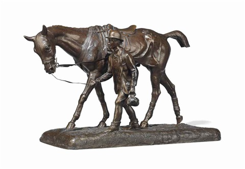 cheval marchant et son lad walking horse and groom by arthur marie gabriel comte du passage