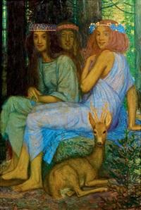 drei nymphen mit rehbock by friedrich könig