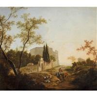 paysage avec un cavalier près d'une villa by jan snellinck iii