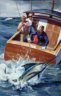 fishermen with marlin breaking water (magazine cover illus.?) by john walter scott