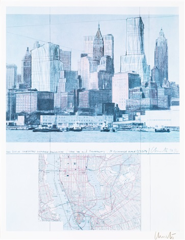 two lower manhattan wrapped buildings, project for new york by christo and jeanne-claude