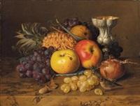 stilleben mit trauben, äpfeln und ananas by theude grönland