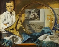 self-portrait with hunting horn and animal sketches by walter stuempfig
