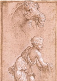 a study of a horse's head and a separate study of a girl below by battista (de luteri) dossi