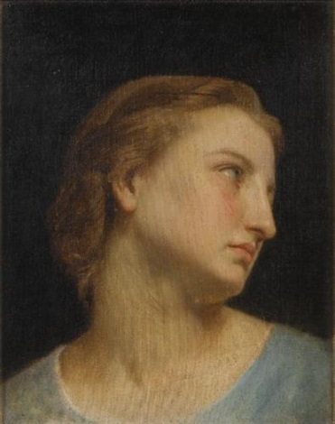 a womans head philomèle et progné study by william adolphe bouguereau