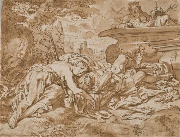 thisbé retrouve le corps mort de pyrame by cornelis schut the elder