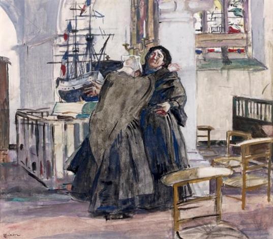 deux bretonnes près de lex voto dans la chapelle by lucien simon