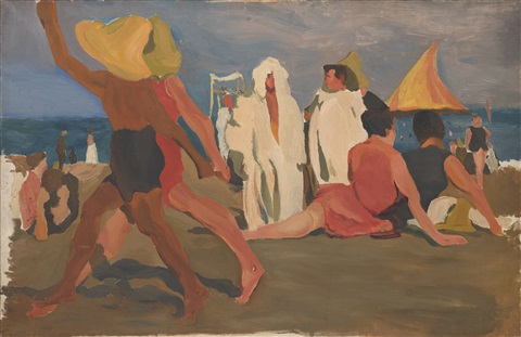bathers on the lido venice by leon bakst