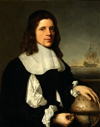 portrait of a young man, half-length, standing on a terrace overlooking the sea by pieter nason