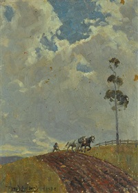ploughing a hillside by perceval charles (percy) lindsay