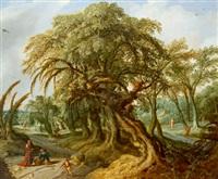 bewaldete landschaft mit einer mächtigen baumgruppe in der bildmitte, links unten im bild der prophet elija und die witwe von sarepta by jacob van geel