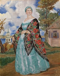 merchant's wife by boris mikhailovich kustodiev