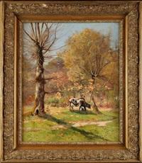 vache et sa gardienne au sous-bois by raoul toussaint dosque
