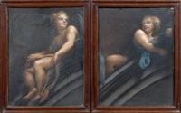 ange assis sur l'arc d'un pendentif se retournant un phylactère dans les mains, tête d'ange, ange assis sur l'arc d'un pendentif, tête d'ange et ange dans les nuées à la jonction des deux arcs (5 studies) by correggio