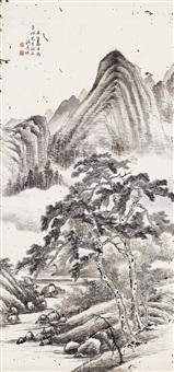 山水 立轴 纸本 by wen qiqiu