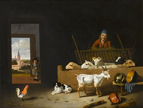 a barn interior with sheep a goat a dog a cockerel and a farmer with a boy in the doorway a view to a village beyond by hubert van ravesteyn