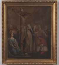 the crucified christ with a gathering of saints including st. peter, st. rose of lima and others by francis gottwald
