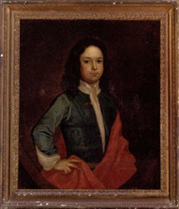 portrait of a boy in a blue coat and red cloak by charles d' agar