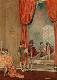 two boys comparing themselves in the mirror (bk illus. for the prince and the pauper) by franklin booth