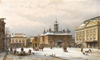 the leidseplein in amsterdam by eduard alexander hilverdink