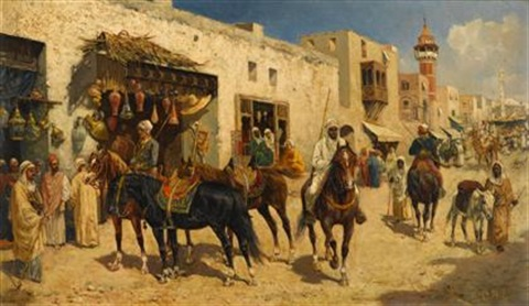 arab horsemen in a busy street by giuseppe gabani