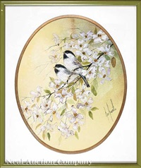 two chickadees on a dogwood by jan fressetto