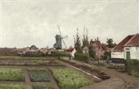 vue de village avec moulin by henri langerock
