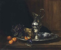 a silver jug with oranges and flowers by antoine vollon