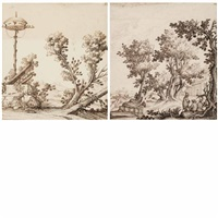 landscape with a birdhouse and landscape with figures in the foreground (2 works) by giuseppi santini