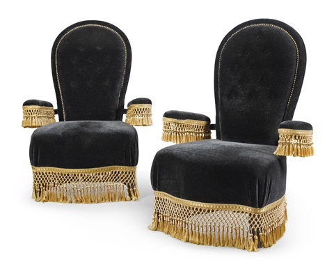 A Pair Of Napoleon Iii Style Velvet Upholstered Boudoir Chairs Designed By  Jacques Garcia, Modern