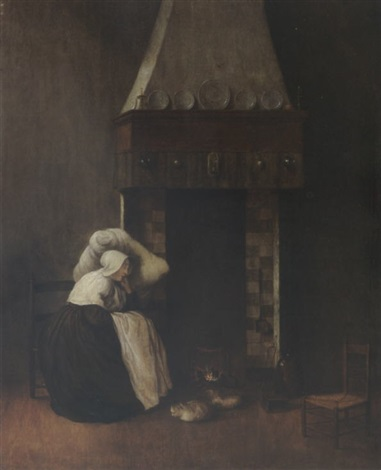 an interior with a woman sleeping near a fireplace together with a cat and a dog by jacobus vrel