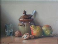 still life with pears and walnuts (2 works) by robert chailloux