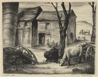 untitled (farm scene with buildings and cows) by carl g. hill