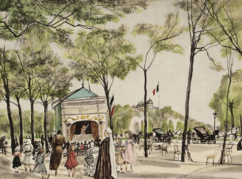 les champs elysees from rivere enchantee by léonard tsuguharu foujita