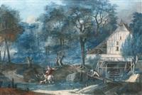 cavalier traversant le gué devant un moulin à eau (+ baigneuses dans un paysage classique; 2 works) by antoine pierre mongin