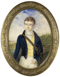 a boy, in blue coat with gold buttons, yellow waistcoat, white shirt and knotted cravat... by de montval