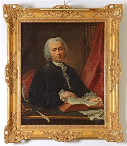 portrait dun médecin dans sa bibliothèque assis à son bureau lisant le traité dhippocrate by louis tocqué