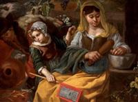 une casseuse de noix et deux enfants dont l'un tient un exemplaire de la canzone delle lodi di madonna tenerina de giulio cesare croce by bernhard keil