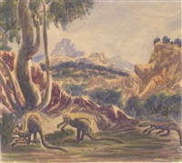 goanna and kangaroo's by otto pareroultja